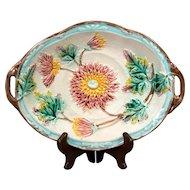 Antique Samuel Lear Dahlia Majolica Serving Tray or Platter