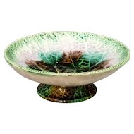 Antique English Begonia Leaf Majolica Compote or Pedestal Bowl