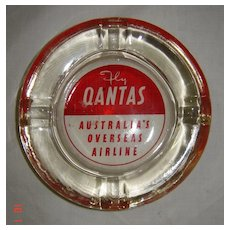 QANTAS Heavy Glass Promotional Ashtray - Circa 1960's-70's