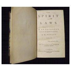 The Spirit of Laws - M. de SECONDAT Vol II 1758