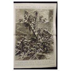 WWI 'The Zeebrugge Raid - HMS Vindictive -Illustrated London News 1918