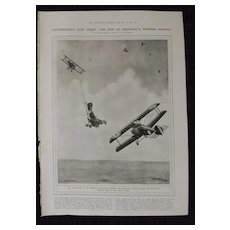 WWI - Von Richtofen's Last Fight (The Red Baron)- London Illustrated News 1918