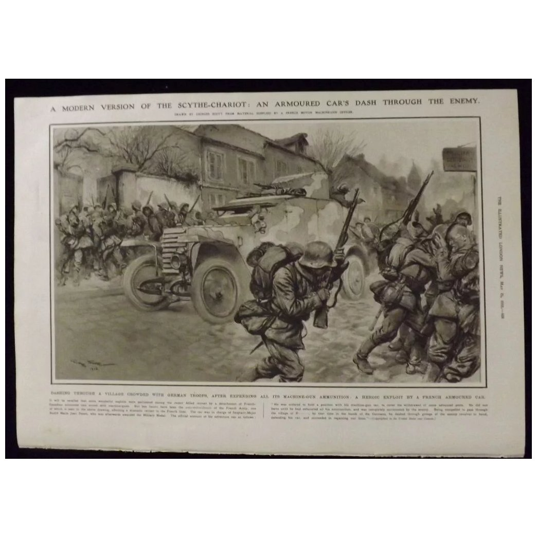 WWI- French Armoured Car in German Occupied Village - Illustrated London News 1918