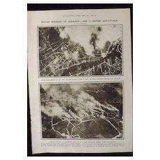 WWI  British Bombing of Germany & Gas Attacks -Illustrated London News 1918
