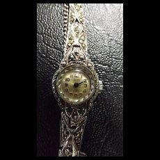 1940's Univex Swiss Marquesite & Silver Ladies Watch