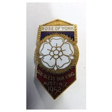Rare Rose of York Badge For The 1952 Tour of The King & Queen to Australia & NZ