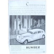 Art Deco 'HUMBER' Advertisement  - The Sphere 1936