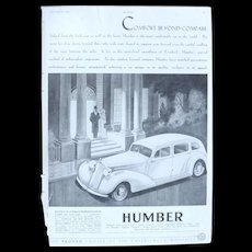 Art Deco 'HUMBER' Advertisement  - The Sphere 1936