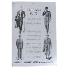Art Deco 'BURBERRY Suits' Advertisement  - The Sphere 1936