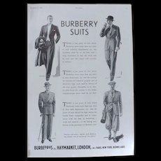 Art Deco 'BURBERRY Suits' Advertisement  - The Sphere 1936