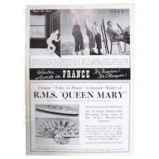 Art Deco ' Queen Mary & France' Advertisement  - The Sphere 1936