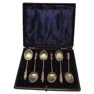 APOSTLE Teaspoons Hall Marked For 1897 -  Boxed Set
