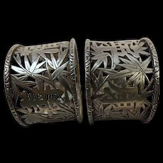 Cum Wo Chinese Export Silver Napkin Rings Pair Circa 1880-1900