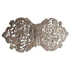 Victorian Sterling Silver Ladies Belt Buckle - 1895