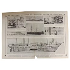Original  Double Page 'The Great British Antarctic Expedition'  - The Sphere Aug. 1901