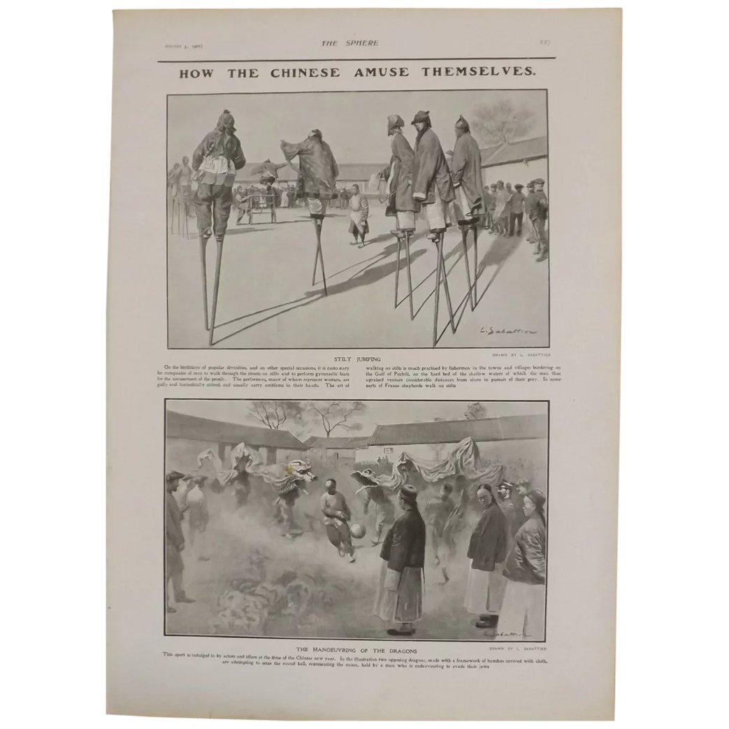 Original Page 'How The Chinese Amuse Themselves' - The Sphere Aug.1901