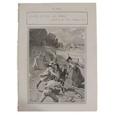 Original  Page 'Hockey On The Sea Shore' - The Sphere  JUL. 1901
