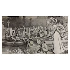 Original  Double Page 'A Typical Scene On The Thames' - The Sphere Jul. 1901