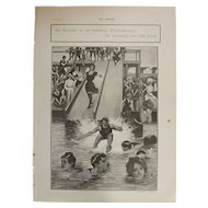 Original  Page 'Sea Bathing At An American Watering -Place' - The Sphere  JUL. 1901