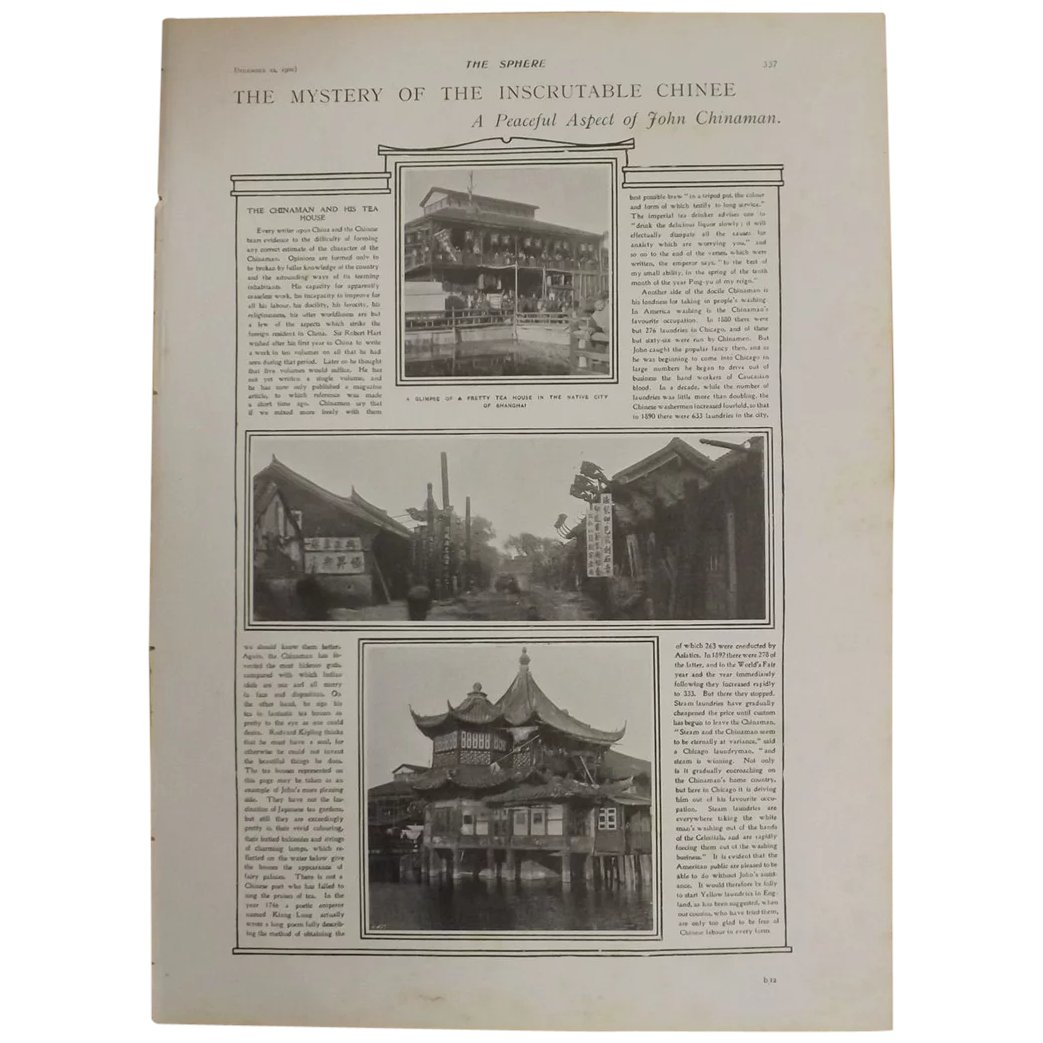Original Page 'The Mystery Of The Inscrutable Chinee' - The Sphere Dec.1900