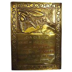 Religious Brass Plaque - JOHN Chapter 3. Verse 16.