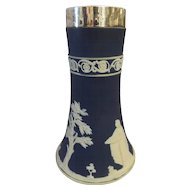ADAMS Jasper Ware Bud Vase With Sterling Silver Collar -1922