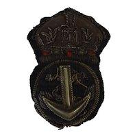 British Royal Navy  Cap Insignia - Petty Officer  'Kings Crown'