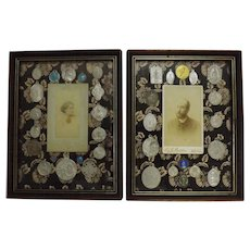 A Pair of French Roman Catholic Religious Tableaux - Circa 1880-1900