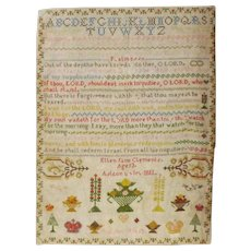 Welsh Georgian Era 'SAMPLER' By Ellen Jane Clements 1835
