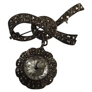 Swiss ZETUS Marcasite 'Bow Brooch' Watch  -Circa 1950