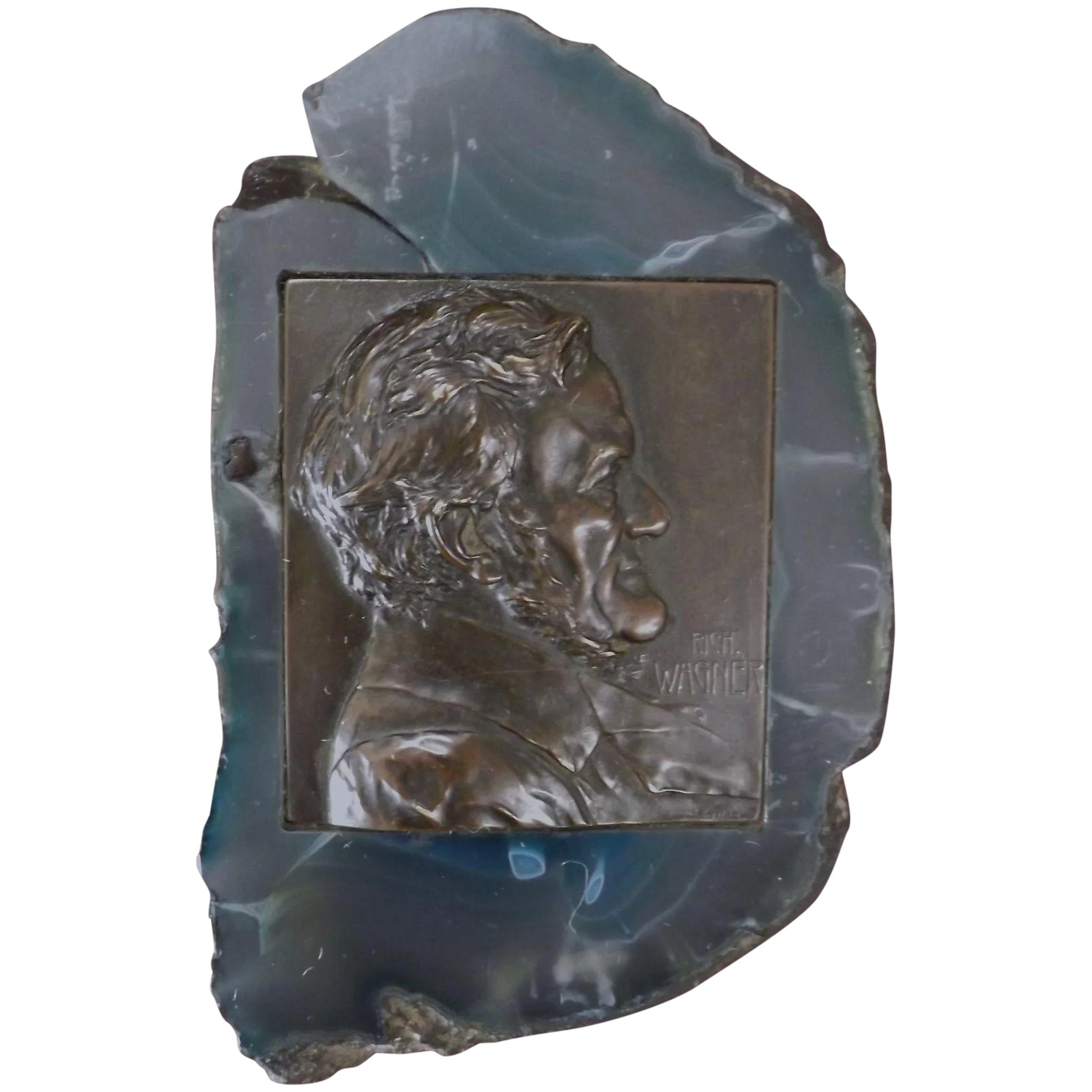 Bronze Plaquette of WAGNER Mounted on Agate