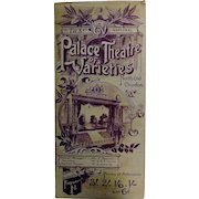 "Theatre Program ""Palace Theatre of Varieties""Croydon London 1901"