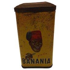 French BANANIA  Drinking Chocolate Tin Circa 1940's