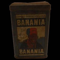 Old French 'BANANIA Drinking Chocolate Tin - Circa 1940's