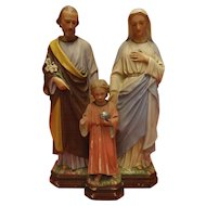 Plaster Statuette of Joseph & Mary with Child Jesus - Circa Early 1900's