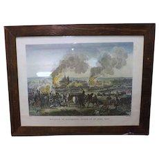 French Engraved Print 'The Bataille De Ratisbonne, Livre Le 23 Avril 1809'.
