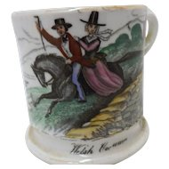 Victorian Child's Transfer Ware Decorated Cup - Welsh Costumes