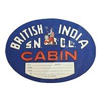 Baggage Sticker British India Steam Navigation Co