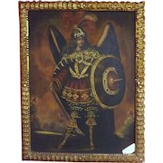 The Archangel Gabriel - Stunning large Oil on Canvas Painting - Peru Early 1900's