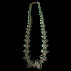 A Pretty Choker with Unusual shaped Green & Clear Crystals