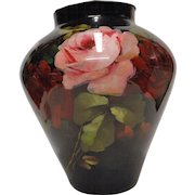 """Rare, Large & Fabulous, Early to Mid Victorian Hand Blown & Painted Glass """"Rememberance"""" Vase"""