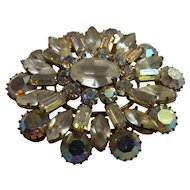 BIG Milk White Rhinestone Brooch