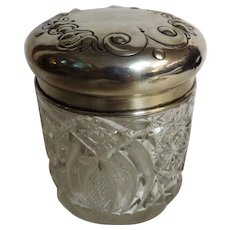 Ladies Cut Crystal Dressing Table Vanity Jar - Hallmarked Silver Top James Dixon 1907