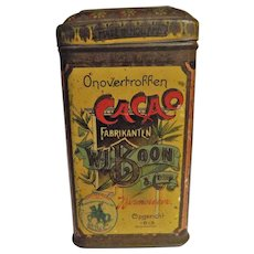 'BOON'S' Cacao - Dutch Cocoa Tin Circa 1910 - 1920