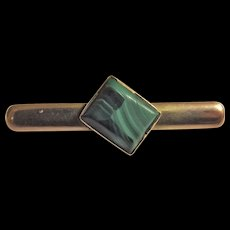 Victorian Bar Brooch in 9 Carat Gold With Malachite Stone