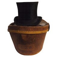 Victorian Top Hat With Leather Carry Case - Circa late 1800's England
