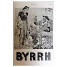 L'Ilustration French Magazine Original BYRRH Aperitif DECO Advertisement 1938