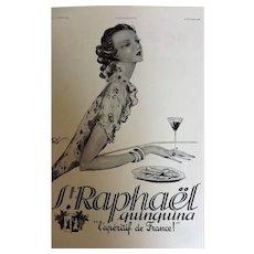 L'Ilustration French Magazine Original St. Raphael Aperitif DECO Advertisement 1937