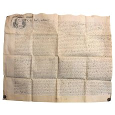 17th Century  English Indenture Vellum Document - Dated 1656  -  Cromwell Period