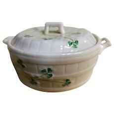 BELLEEK 'Shamrock' Butter Tub - Circa 1946-1955